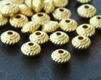 100 Pcs Spacer Beads, Gold Finished, 5mm Saucer - eTS017G-5x3
