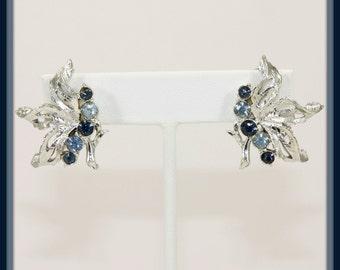 Vintage Light/Dark Blue Rhinestone Earrings,Vintage Rhinestone Earrings,Vintage Earrings,Vintage Costume Jewelry,Vintage Rhinestone Jewelry