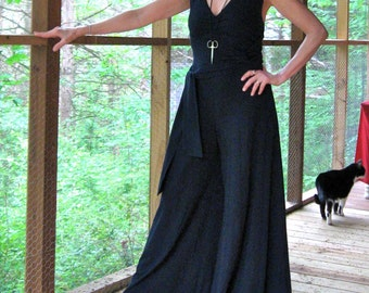 CUSTOM Jumpsuit shows off a convertible halter neckline, made to your own specifications