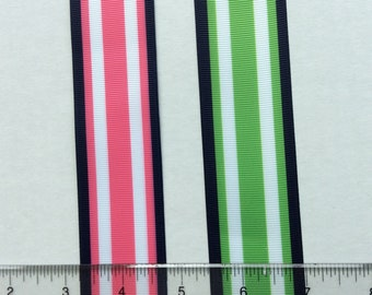 "Preppy navy candy striped grosgrain ribbons Pink Green 1.5"" Bright"