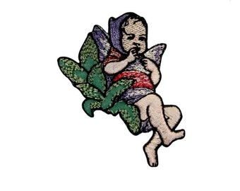 ID 0154 Baby Angel Patch Pixie Boy Girl Embroidered Iron On Badge Applique