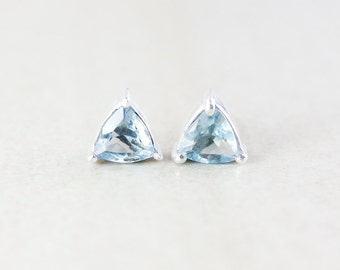 Sky Blue Topaz Studs - Triangular Cut - Silver Fill