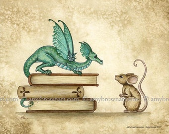 5x7 Curious Encounter mouse and dragon PRINT by Amy Brown