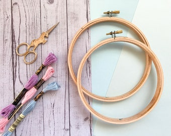 """2 pack ~ 6"""" Embroidery Hoop - Wooden Embroidery Hoops, Hoop Art, Cross Stitch Hoop, Embroidery Fibre Arts Needlepoint Craft Supplies"""