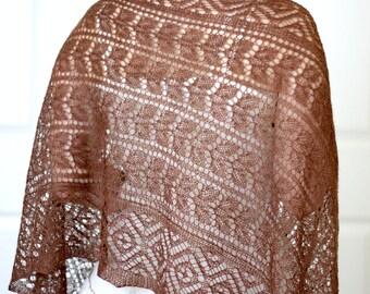 Knit shawl, wedding shawl, bridesmaids shawl, bridal shawl, lace shawl in merino/silk gift for her