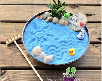 Mini Zen Garden, Ocean, Desk Accessory, DIY Zen Kit, Sand Therapy, Sand Art, Zen Gift, Coworker Gift, Zen Garden, Fairy Garden Kit