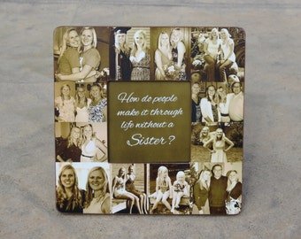 "Maid of Honor Photo Collage Frame, Custom Bridesmaid Collage Picture Frame, Personalized Best Friend Gift, Unique Sister Gift, 8"" x 8"" Frame"