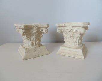 Vintage Pair Corinthian Style Greek Column Pedestal Candle Holders - Antique Weathered Look