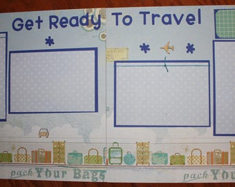 12 x 12 travel scrapbook layout premade titled GET READY to TRAVEL , handmade photo ready travel scrapbook layout, double page travel