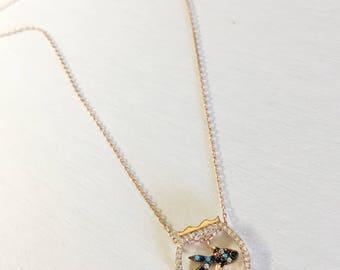 Crystal Fishbowl Multicolor Goldfish 18k Gold filled Sterling Silver Necklace