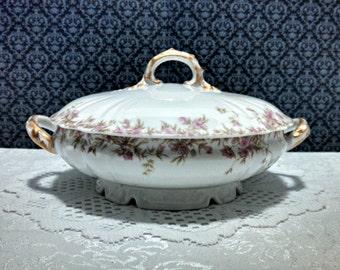 Antique Serving Bowl, Charles Field Haviland CFH GDM, Limoges Porcelain, Covered Veggie Dish, Pink Floral Pattern, Veggie Bowl, Circa 1890s