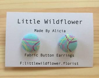 Blue Pastel Button Earrings