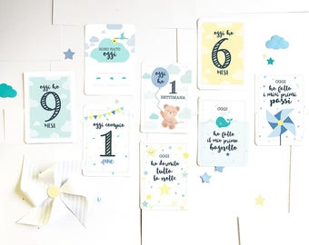 Segnatappe cards for babies. Milestone cards. Gift Idea for mother.  Set of 25 cards for sissy or boy