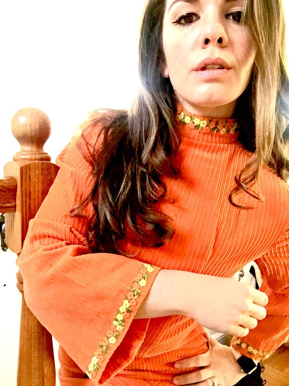 Vintage Corduroy Woman's Tunic - Orange Corduroy Long-Sleeved 1960s Turtleneck Dress - Size 4