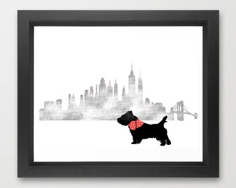 Cairn Terrier Dog in New York city Art Print - Cairn Terrier Dog , dog art, new york city skyline