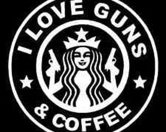 DIY I Love Guns & Coffee Vinyl Decal, Coffee Cup Decal, Laptop Decal, Car Window Decal, Drinkware Decal, Stainless Steel Cup Vinyl Decal