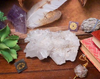 Quartz Cluster - One of a Kind  -  Chakra Crystals - Gift - Home decor (RK68B1-02)