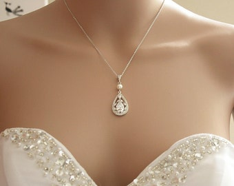 Bridal Necklace, Crystal Wedding Necklace, Cubic zirconia Necklace, Bridal Jewelry, Teardrop Pendant Necklace, Wedding Jewelry, Esther