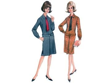 60s uncut Dress pattern Drop Waist Dress pattern vintage 33-25.5-35 XS Half Size pattern McCalls 7387