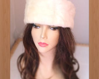 "HE-79 Snow White Mink Fur Headband 23-25"""