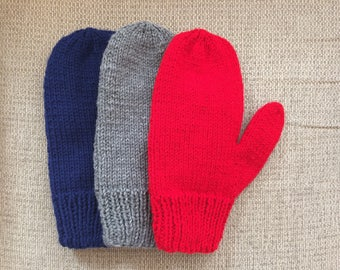 Knit Mittens Lined with Fleece (no cuff)