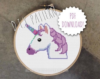 DIY unicorn  cross stitch PATTERN. Counted cross stitch pattern. Needlepoint pattern.