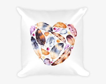 Feathers and Eggs Heart Pillow Case