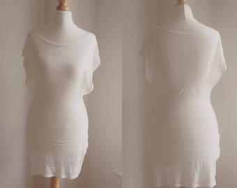 sheer striped open sleeve dress top