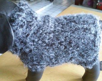 XS Dog Sweater/Hand Knit, Bulky Weight, X Small Dog Coat/XS Black and Silver Dog Sweater/Dog Jacket/XS Dog Apparel /Dog Clothing /Puppy Coat