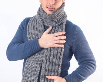 StoneGrey/Handmade/Knitted/Ribbed Stitch/Bespoke/Wool/Alpaca/EdenCollection