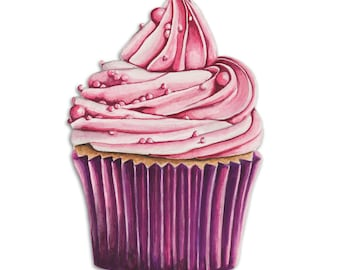 Watercolour Cupcake Art Print