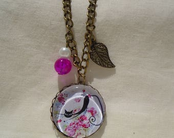 CAT and flowers cabochon necklace