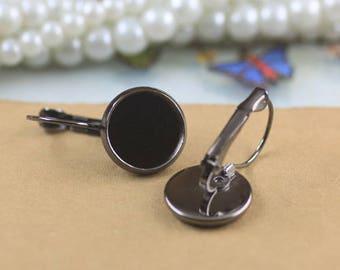 Set of 10 blank earring 12 mm cabochons in black (560412GB)