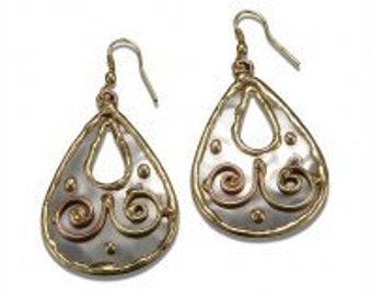 Mixed Metal Earrings, Copper Brass Earrings, Nickel Free Earrings, Handmade, Boho Chic