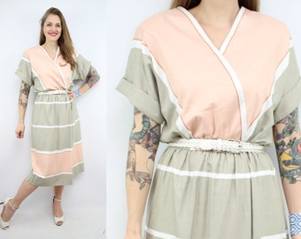 Vintage 80's Peach and Sand Dress / 1980's Spring Summer Dress / Women's Size Large / XL