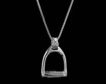 Equestrian Stirrup Necklace, stirrup pendant, english stirrup necklace, horse stirrup necklace, horse pendant, horse jewelry, stirrup