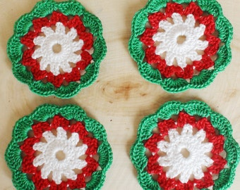 Christmas coasters Christmas table decoration Christmas gift for her Christmas Crochet coasters colorful doilies Housewares Christmas party