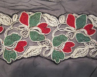 "2 yards french embroidery on chiffon 6"" wide most unusual vintage trim"
