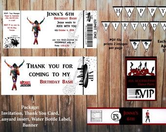 Printable Michael Jackson Birthday Kit, Invitation and Thank You Card, Water Bottle Label, Banner, Lanyard insert, cupcake toppers