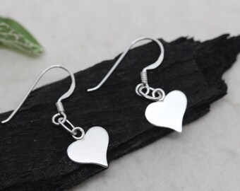 Silver Heart Earrings, Sterling Silver Lightweight Earrings, Silver Flat Heart Earrings, heart earrings Jewelry, silver dangle earrings