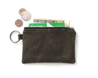 Waxed Canvas Keychain Wallet Coin Purse Zipper Pouch Green