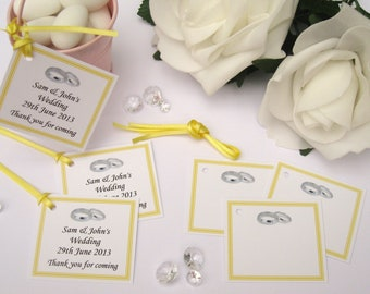 Personalised Wedding Gift Tags - Yellow - Pack of 10 tags