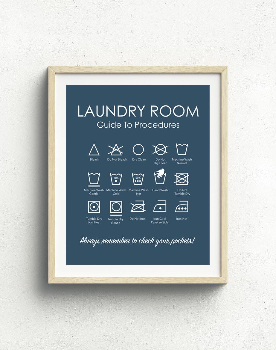 Laundry Symbols Art Laundry Symbols Print Laundry Room Art Laundry Instructions