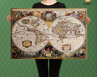 Nova Totius Terrarum Orbis, 17th Century,  Henricus Hondius, Henrico, Renaissance, Vintage World Map, Custom Raised Canvas Art Piece