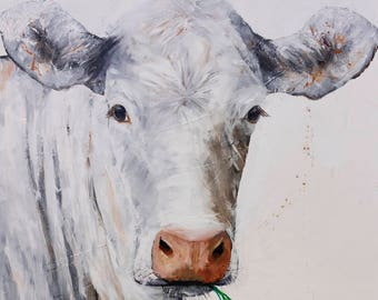 White COW Canvas * Country Art on CANVAS * Farm Animal Country Home Wall Art * Free Shipping to US