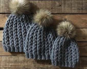 3 Hat Bundle > Mommy And Me Hats > Mom And Me Hats > Matching Hats > Sibling And Mommy Hats > Baby Hats > Fur Pom Pom hat > Beanie > Toddler