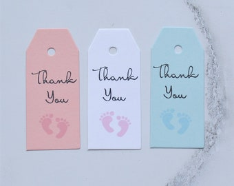 25 Baby Shower Mini Favor Tags - Thank You Tags - Personalized Baby Tags - Baby Shower Favor Tags - Baby Footprint Favor Tags