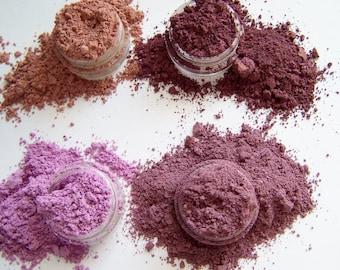 Mineral Eye Shadow Collection - Purple / Plum Quad - Metallic Rose, Golden Plum - Light Purple - Aubergine -  Eyeliners - Holiday Ideas