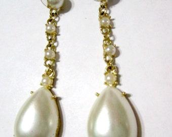 Vintage Long Dangle Faux Pearl Fancy Tear Drop Shape Earrings Pierced