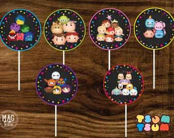 Tsum Tsum Cupcake Toppers ,Tsum Tsum, Tsum Tsum Favor Tags,  Stikers. DIGITAL FILE. Instant Download